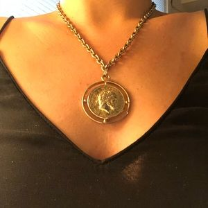 Jewelry - Large Gold Medallion coin chain necklace statement